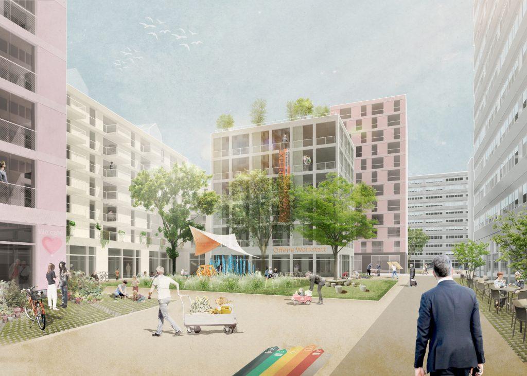 Die geplanten Stadtzimmer fördern als gemeinschaftliche Freiräume eine nutzerbasierte Aneignung und ein nachbarschaftliches Miteinander.