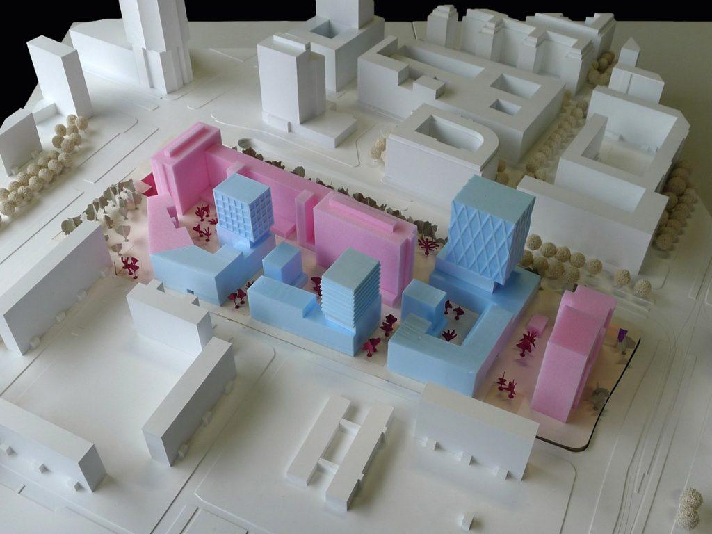 Modellfoto städtebaulicher Entwurf TELEINTERNETCAFE + Treibhaus Landschaftsarchitektur