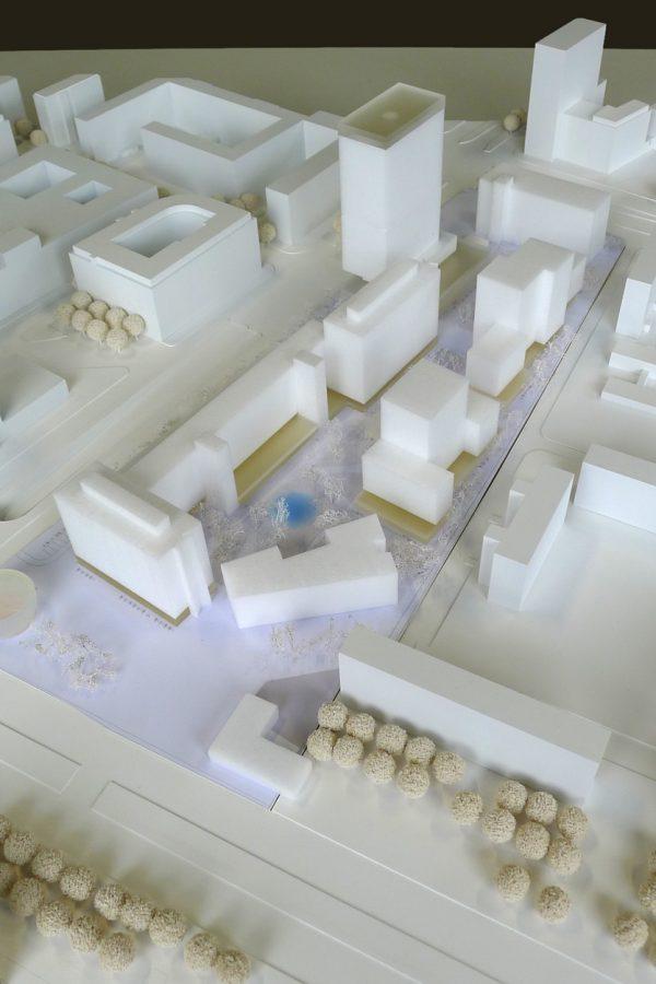 Blick Süd-Nord: Entwurf 1, COBE Berlin + Studio Sörensen (Foto: Clemens Weise, ©ZKB eG)