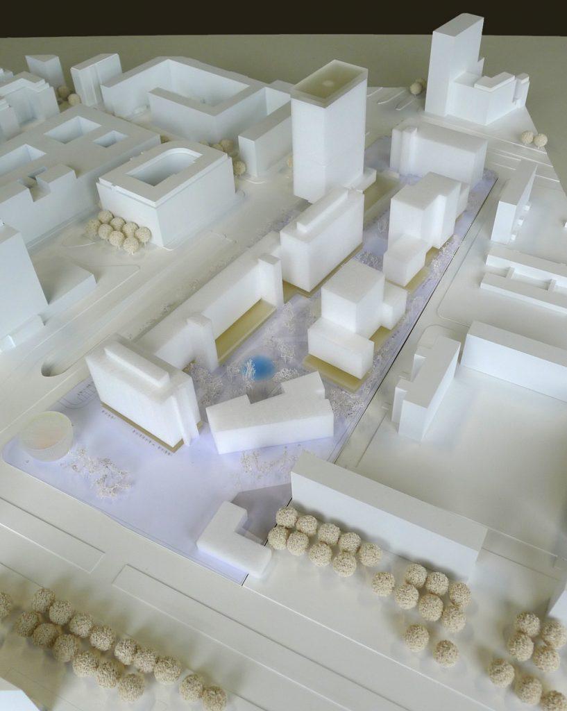 Modellfoto städtebaulicher Entwurf COBE Berlin + Studio Sörensen (©ZKB eG)